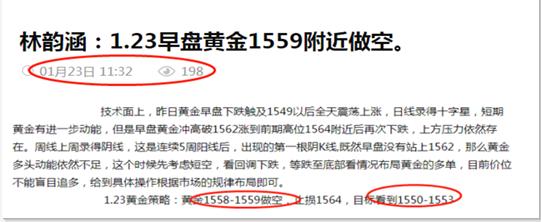 林韵涵:1.24昨日早盘1559空如期下跌,1554附近多单继续持有看大涨。
