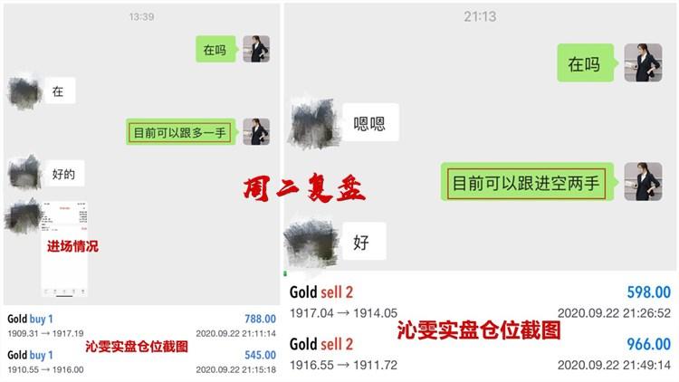 柳沁雯9.23黄金空头大获全胜,附黄金操作建议