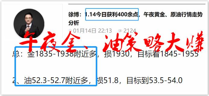 徐博:1.15本周20连胜中,白盘黄金、原油行情走势分析