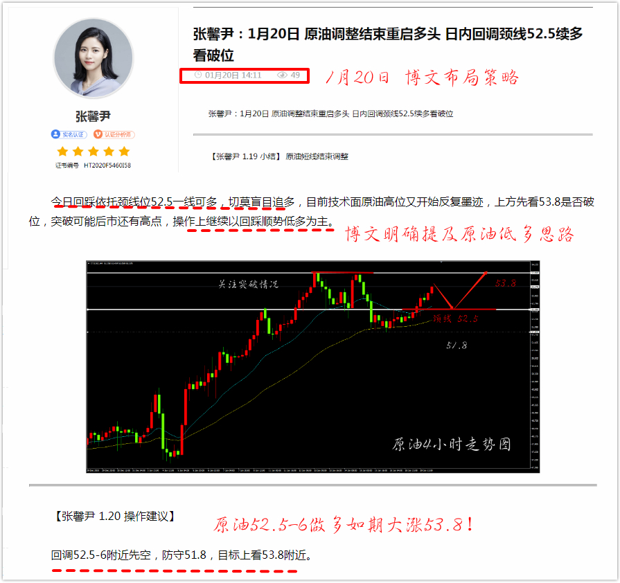 张馨尹:1月21日 原油52.5低多如期大涨53.8 日内保持52.4低多不变警惕高位回落